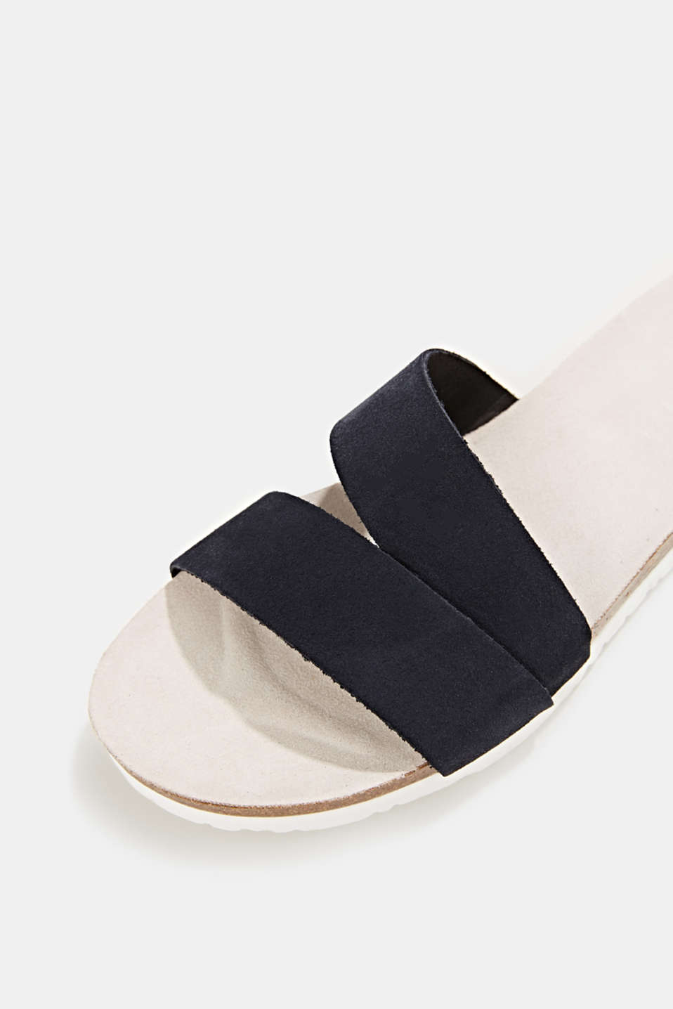 Mules with straps in leather, NAVY, detail image number 4