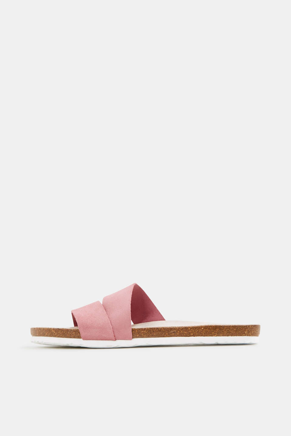 Mules with straps in leather, PINK, detail image number 0