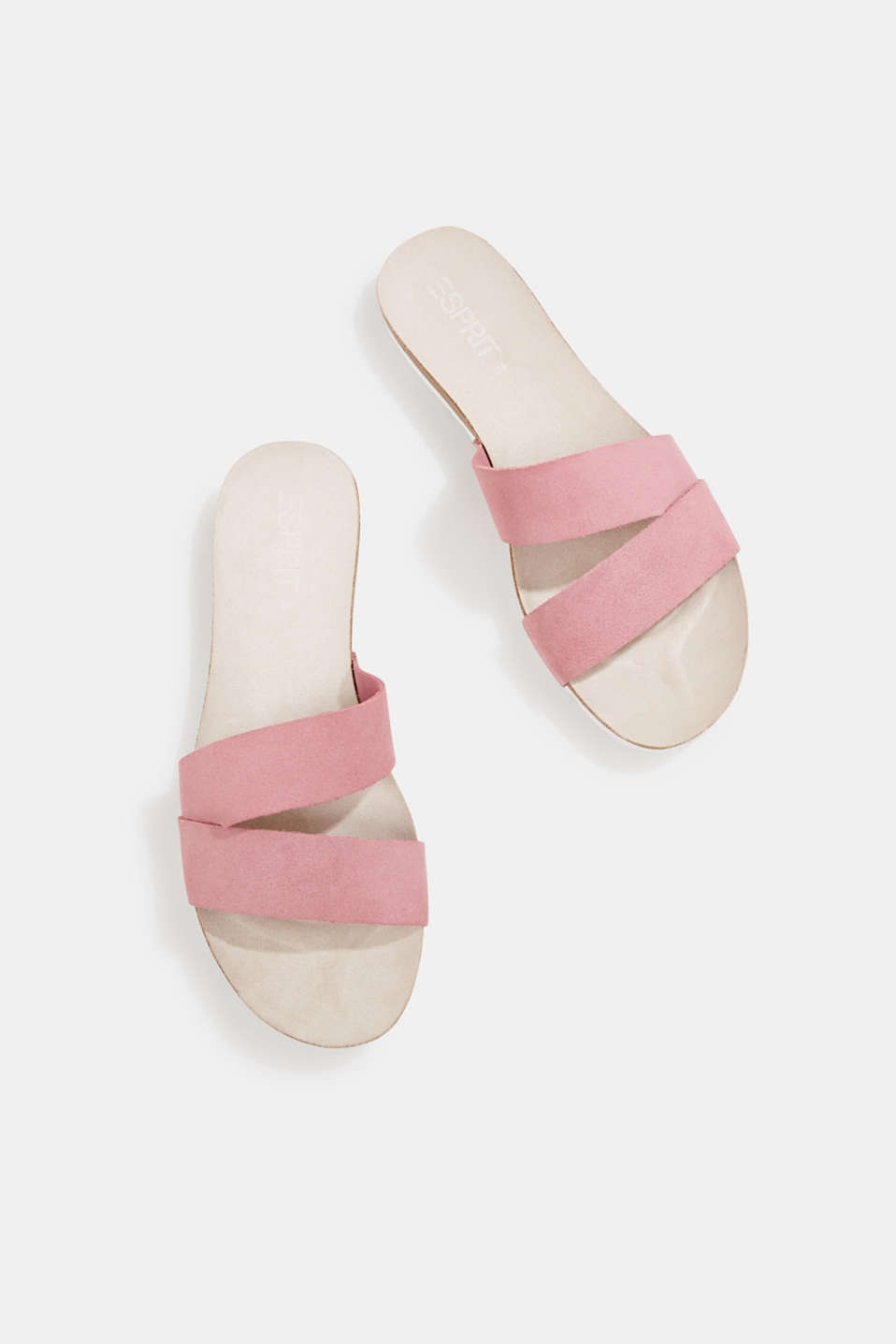 Mules with straps in leather, PINK, detail image number 1
