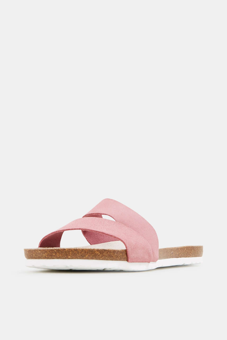 Mules with straps in leather, PINK, detail image number 2