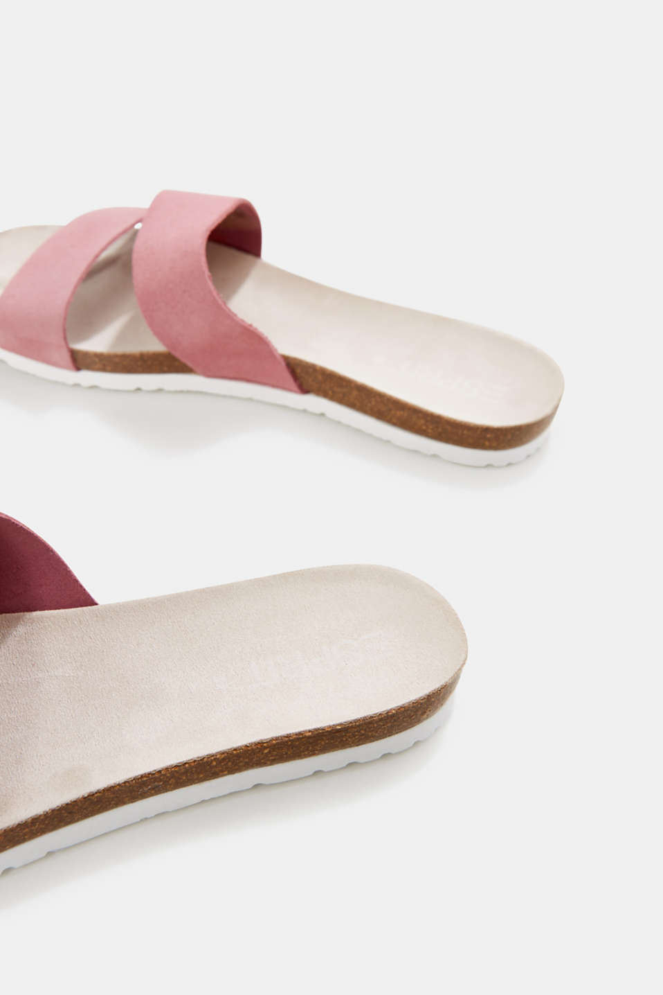 Mules with straps in leather, PINK, detail image number 5