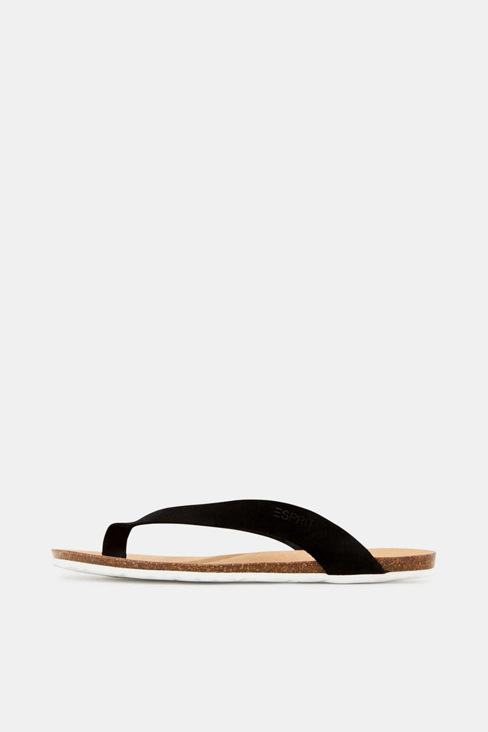Leather toe-post slip-ons, BLACK, detail image number 0
