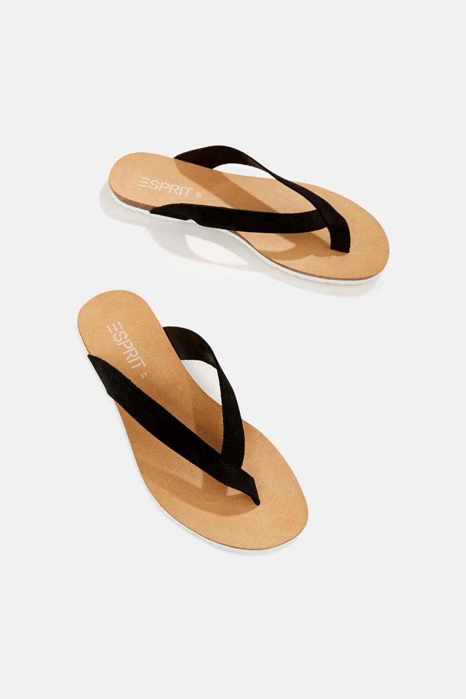 Leather toe-post slip-ons, BLACK, detail image number 1