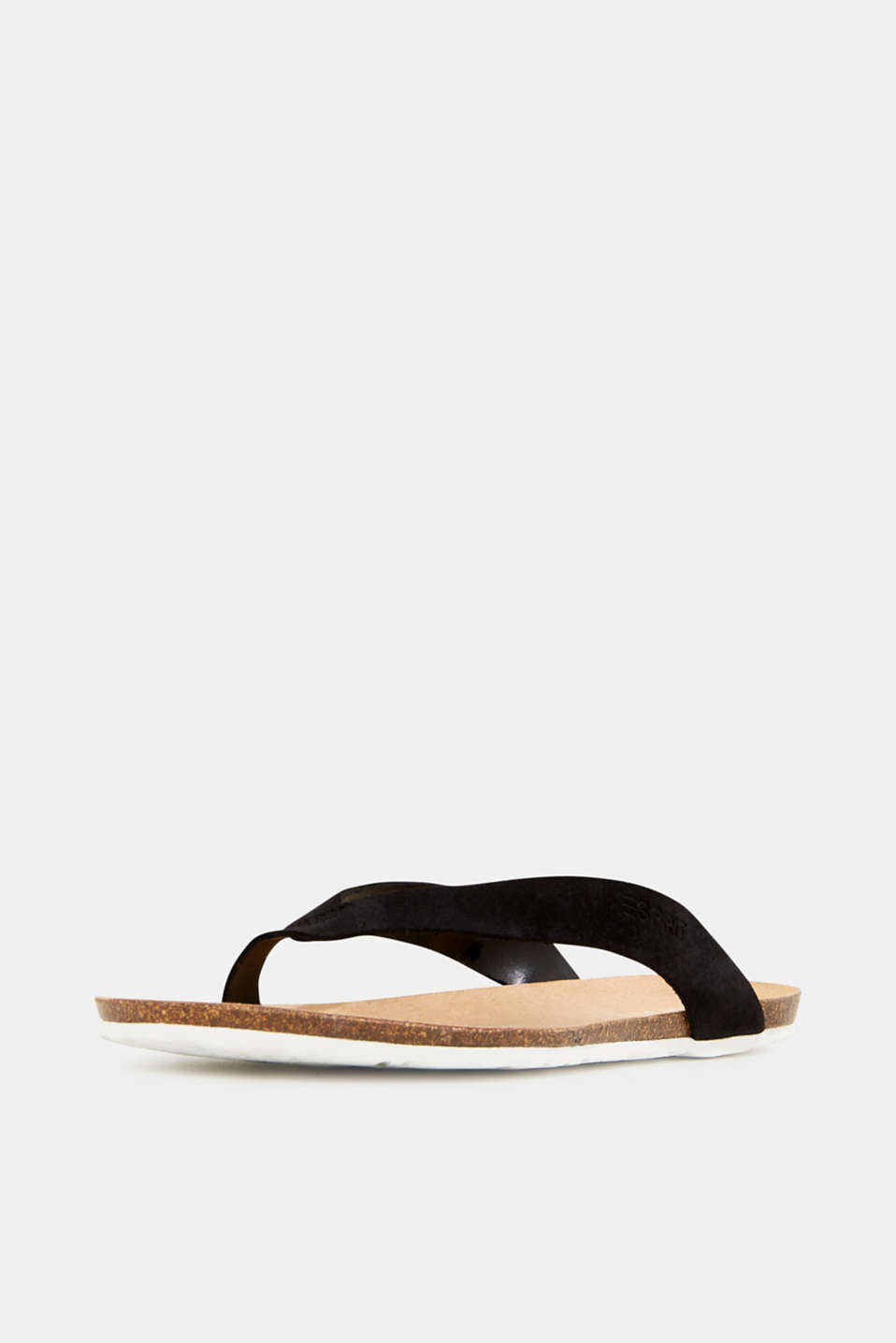 Leather toe-post slip-ons, BLACK, detail image number 2