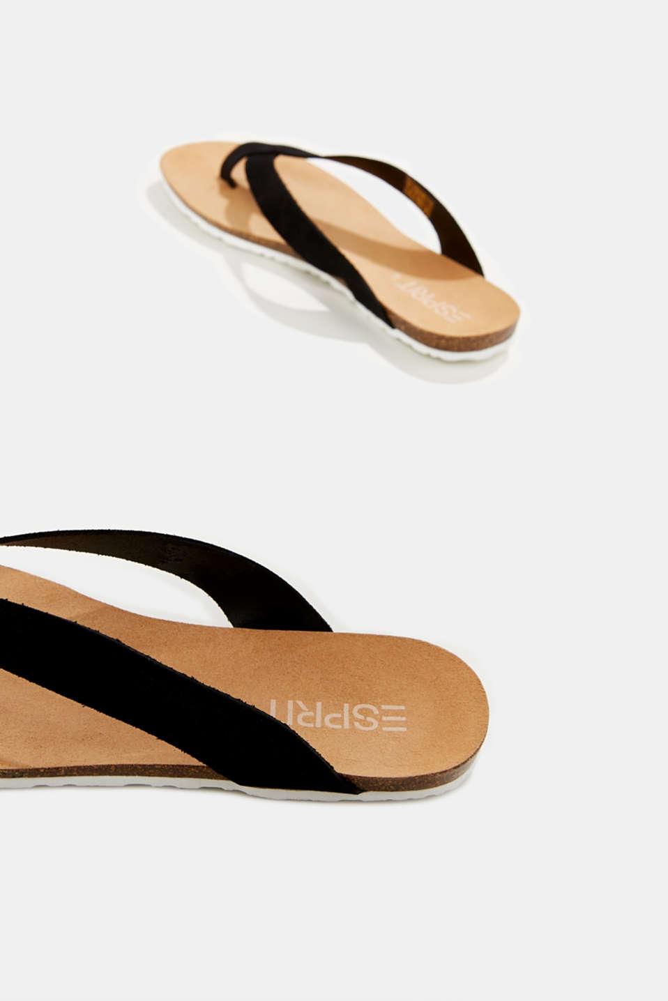 Leather toe-post slip-ons, BLACK, detail image number 5