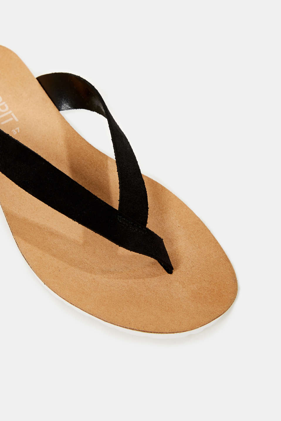 Leather toe-post slip-ons, BLACK, detail image number 4