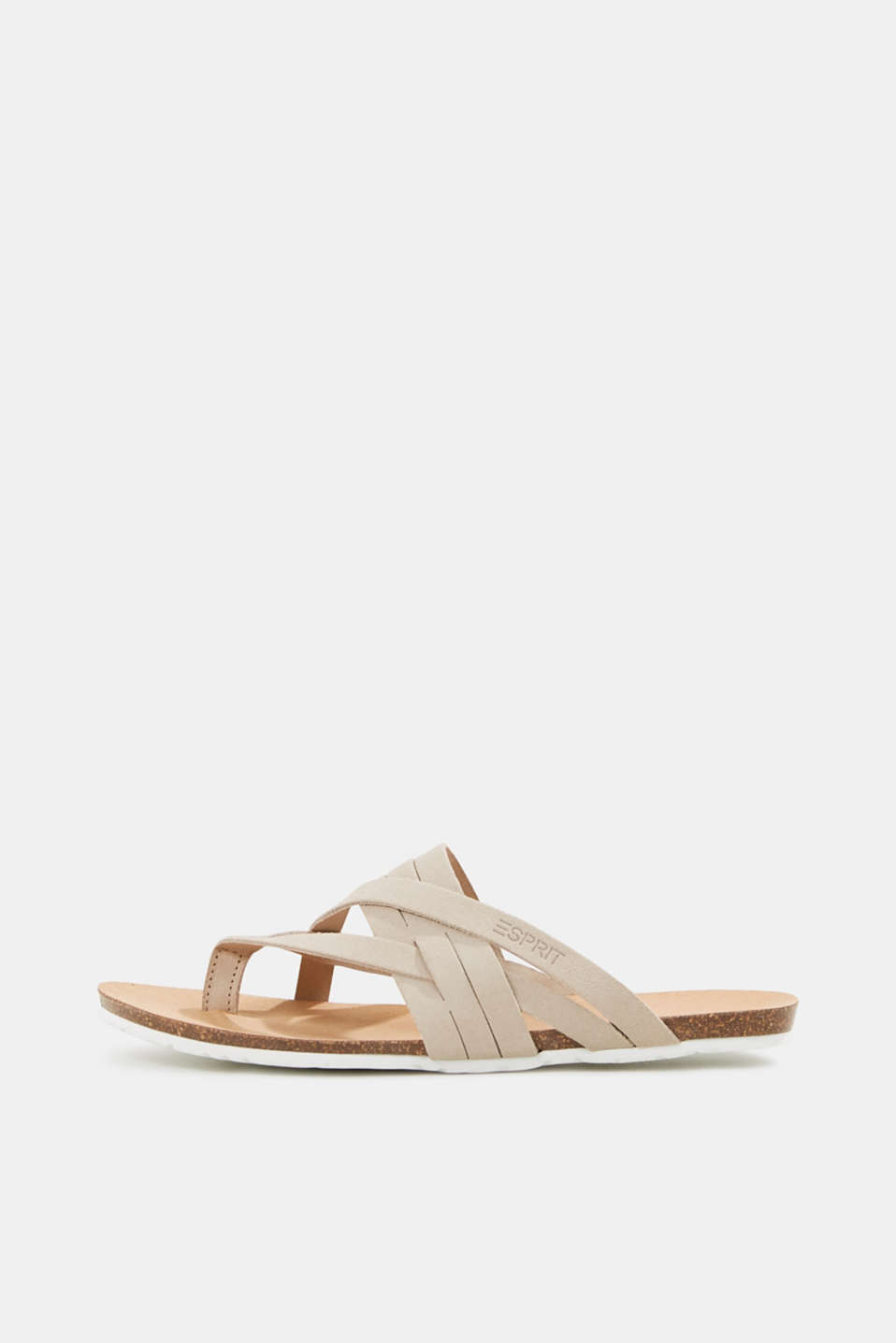 Made of leather: strap thong sandals, BEIGE, detail image number 0