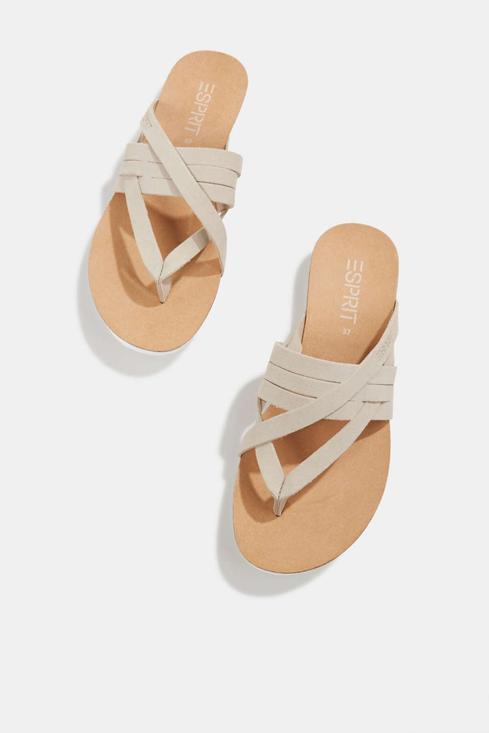 Made of leather: strap thong sandals, BEIGE, detail image number 1