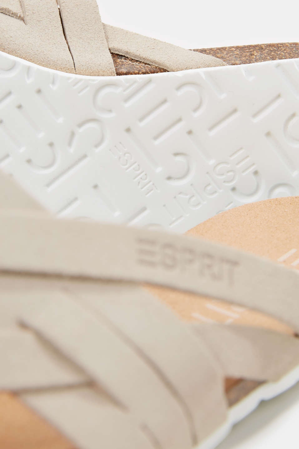 Made of leather: strap thong sandals, BEIGE, detail image number 5