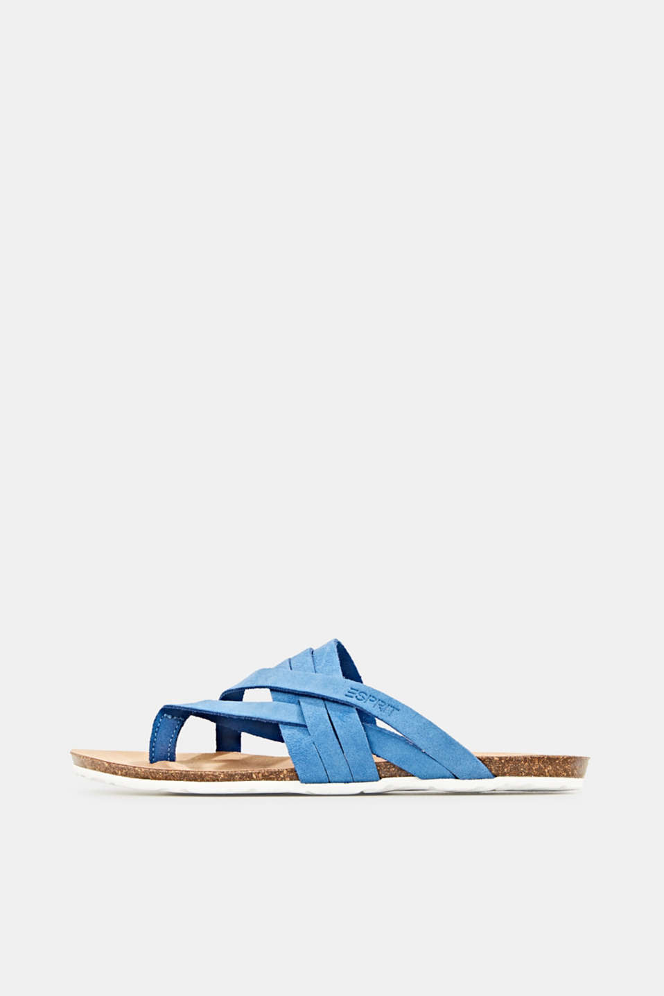 Made of leather: strap thong sandals, BRIGHT BLUE, detail image number 0