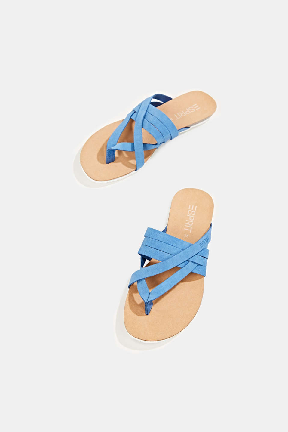 Made of leather: strap thong sandals, BRIGHT BLUE, detail image number 1