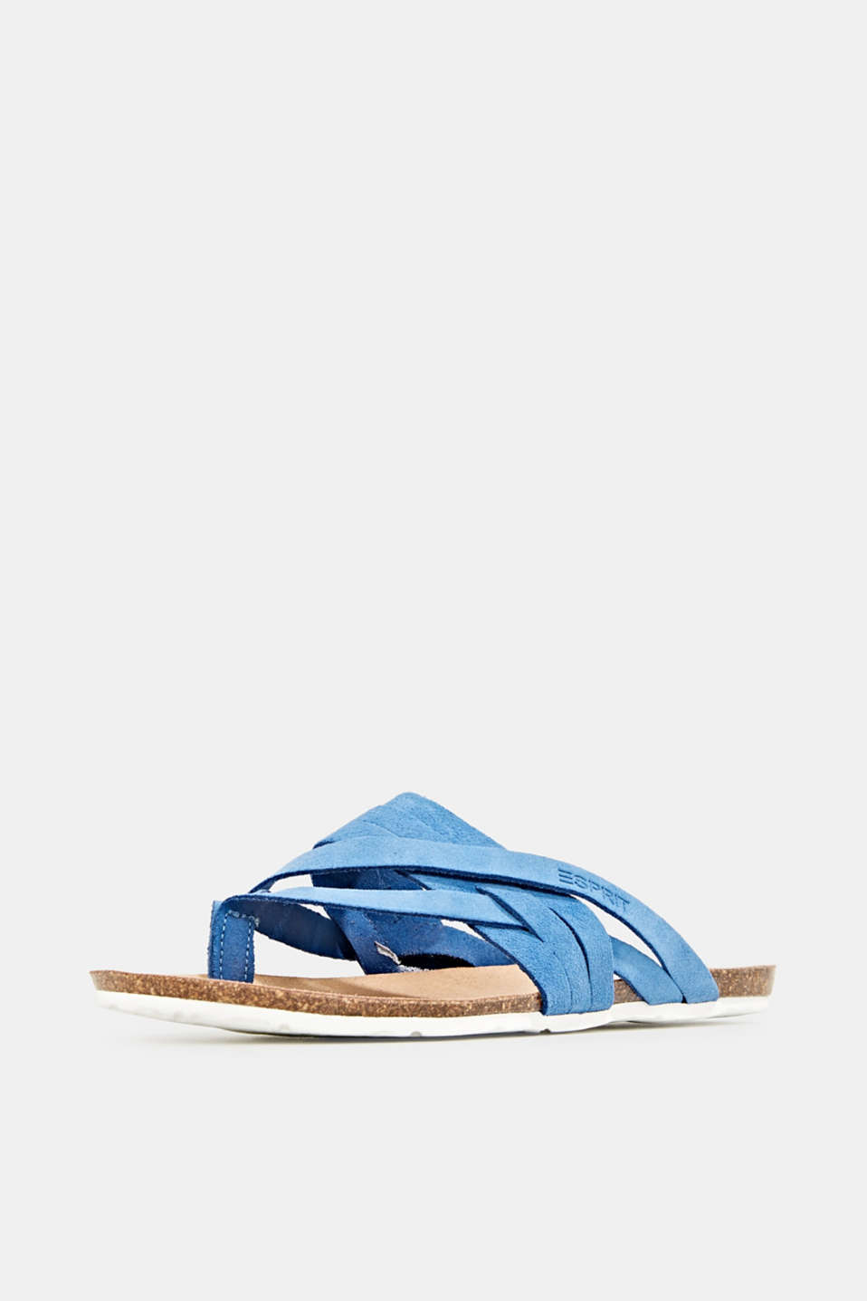 Made of leather: strap thong sandals, BRIGHT BLUE, detail image number 2