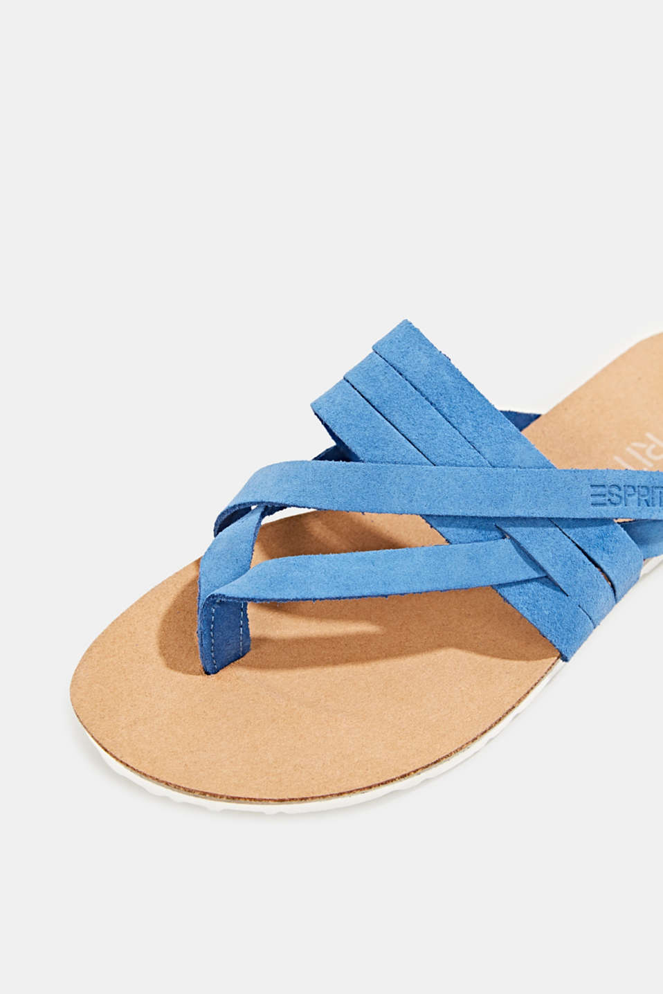 Made of leather: strap thong sandals, BRIGHT BLUE, detail image number 4