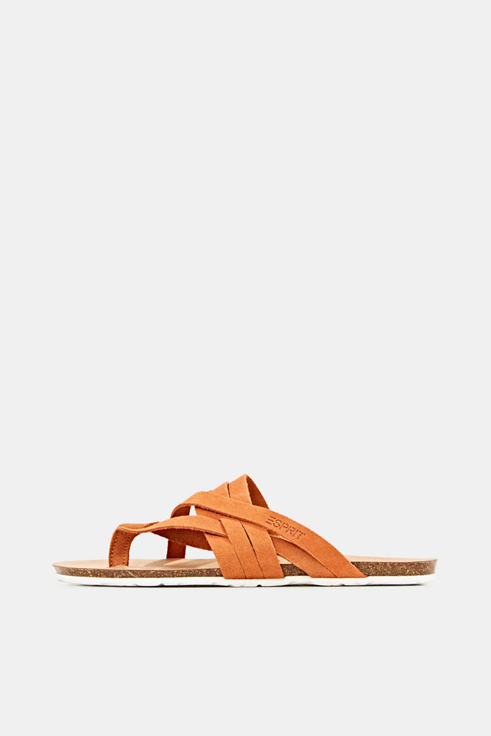 Made of leather: strap thong sandals, RUST ORANGE, detail image number 0