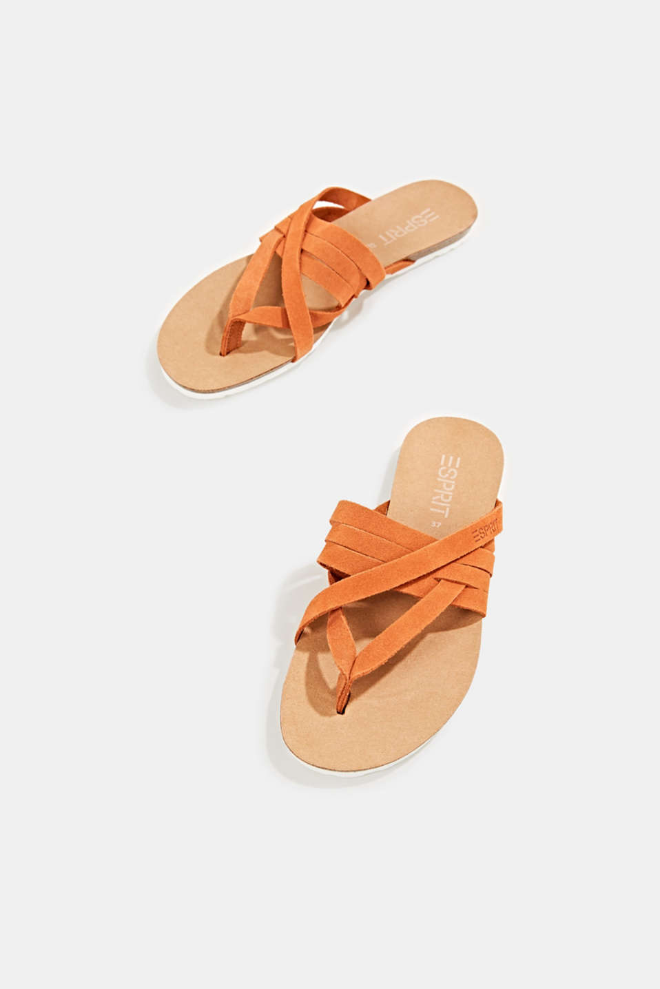 Made of leather: strap thong sandals, RUST ORANGE, detail image number 1