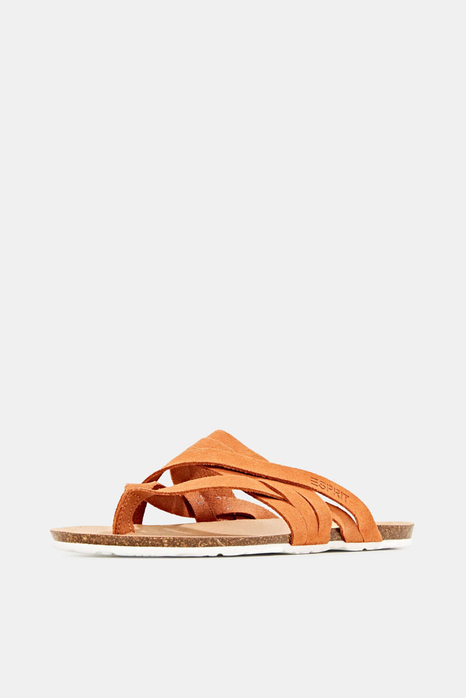 Made of leather: strap thong sandals, RUST ORANGE, detail image number 2
