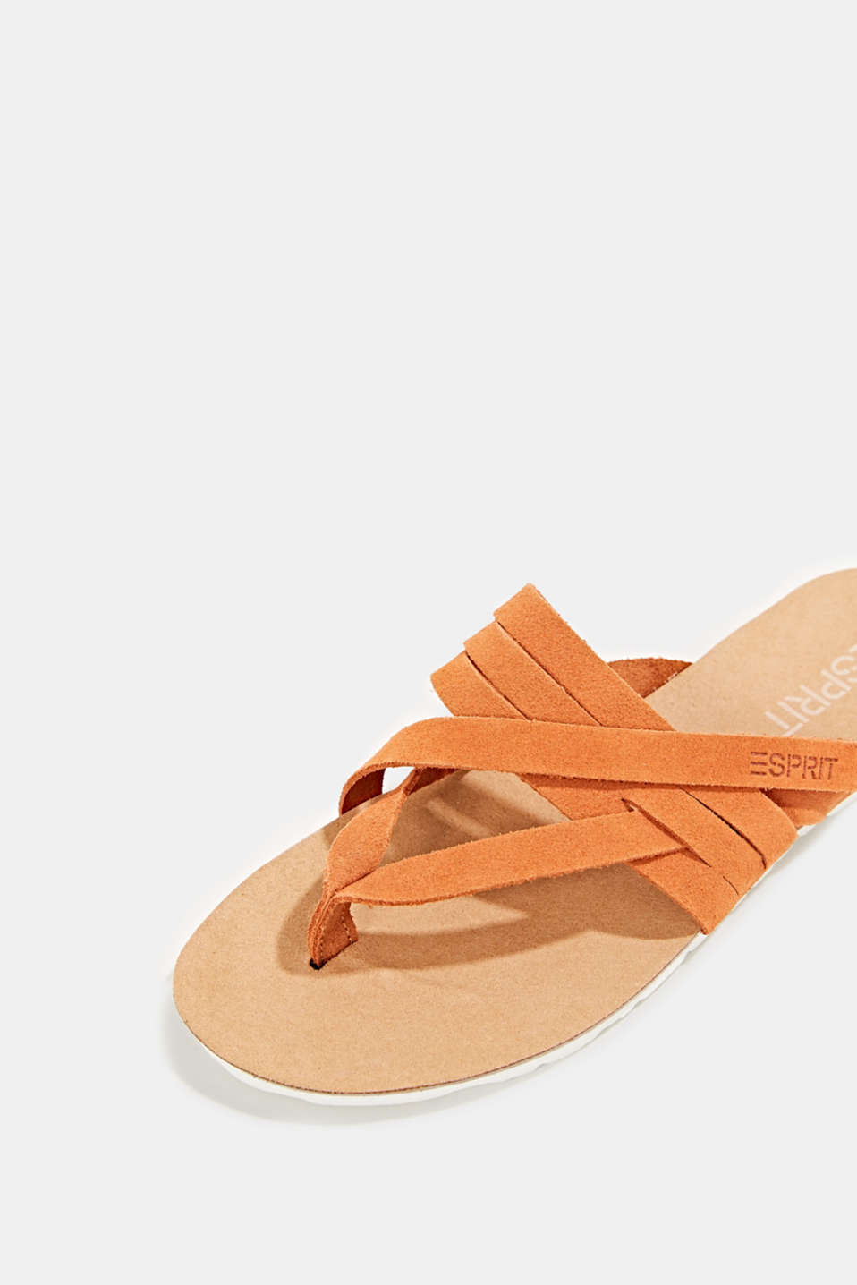Made of leather: strap thong sandals, RUST ORANGE, detail image number 4