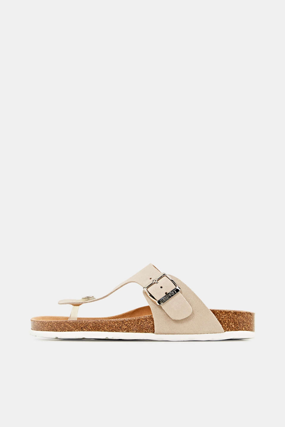 Made of leather: thong sandal slip-ons, BEIGE, detail image number 0