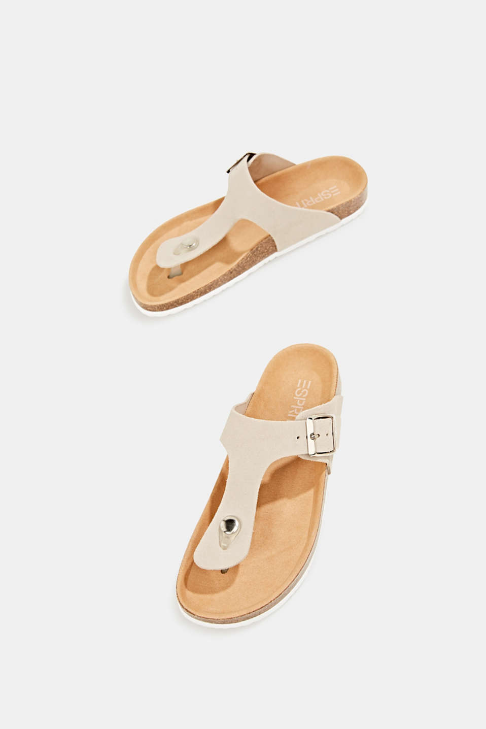 Made of leather: thong sandal slip-ons, BEIGE, detail image number 1