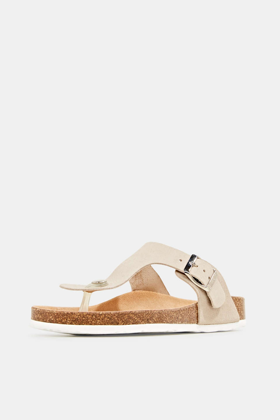 Made of leather: thong sandal slip-ons, BEIGE, detail image number 2