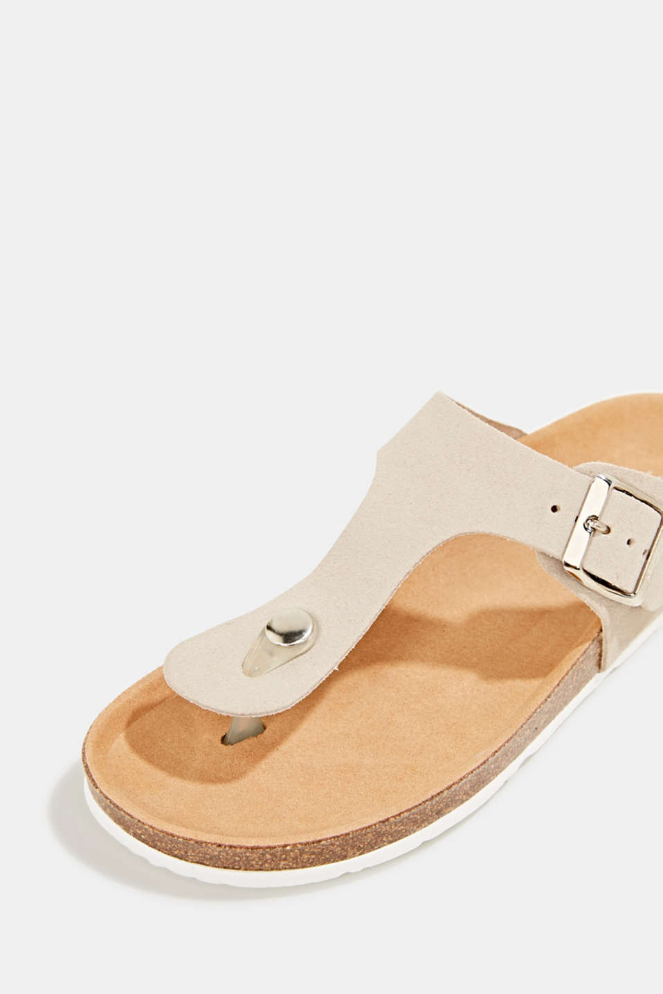 Made of leather: thong sandal slip-ons, BEIGE, detail image number 4