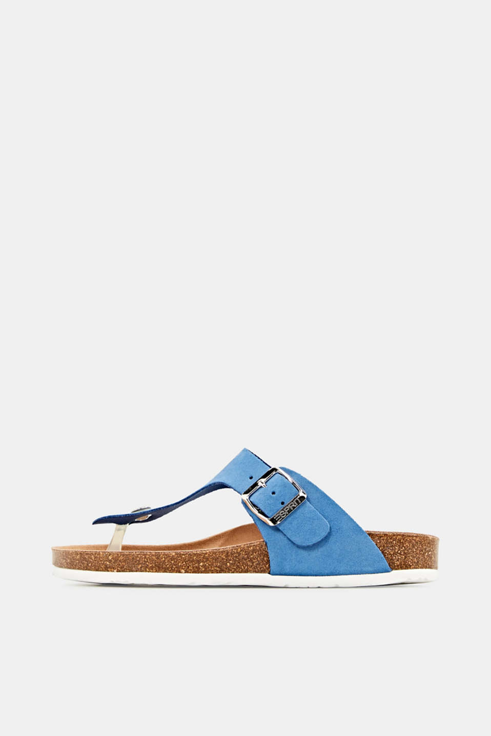 Made of leather: thong sandal slip-ons, BRIGHT BLUE, detail image number 0