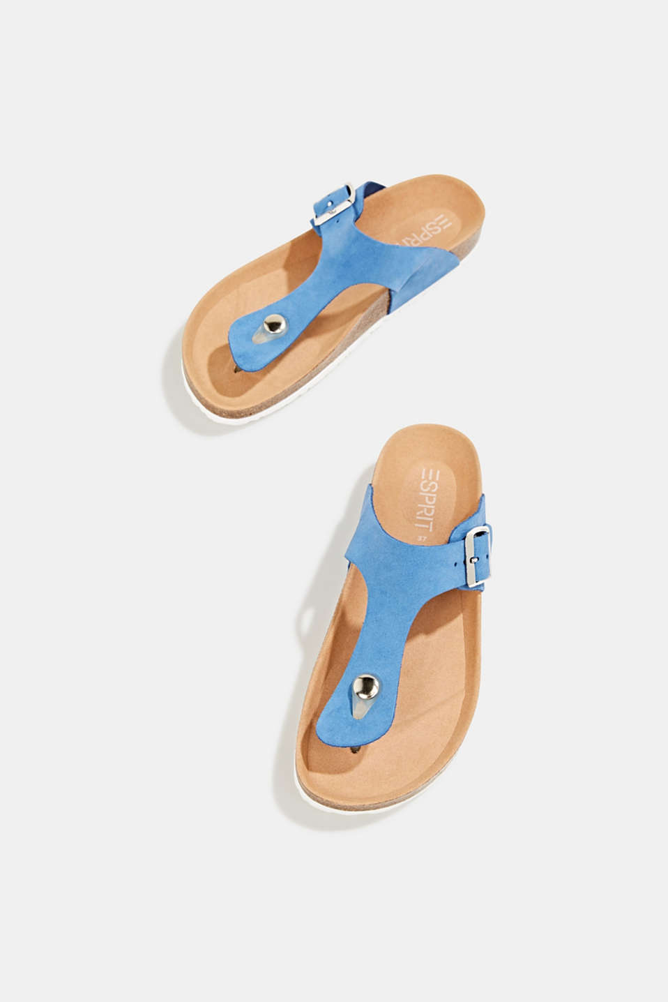 Made of leather: thong sandal slip-ons, BRIGHT BLUE, detail image number 1