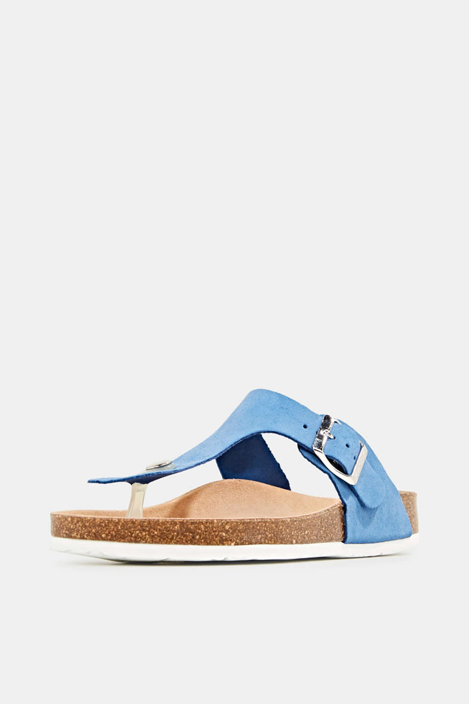 Made of leather: thong sandal slip-ons, BRIGHT BLUE, detail image number 2