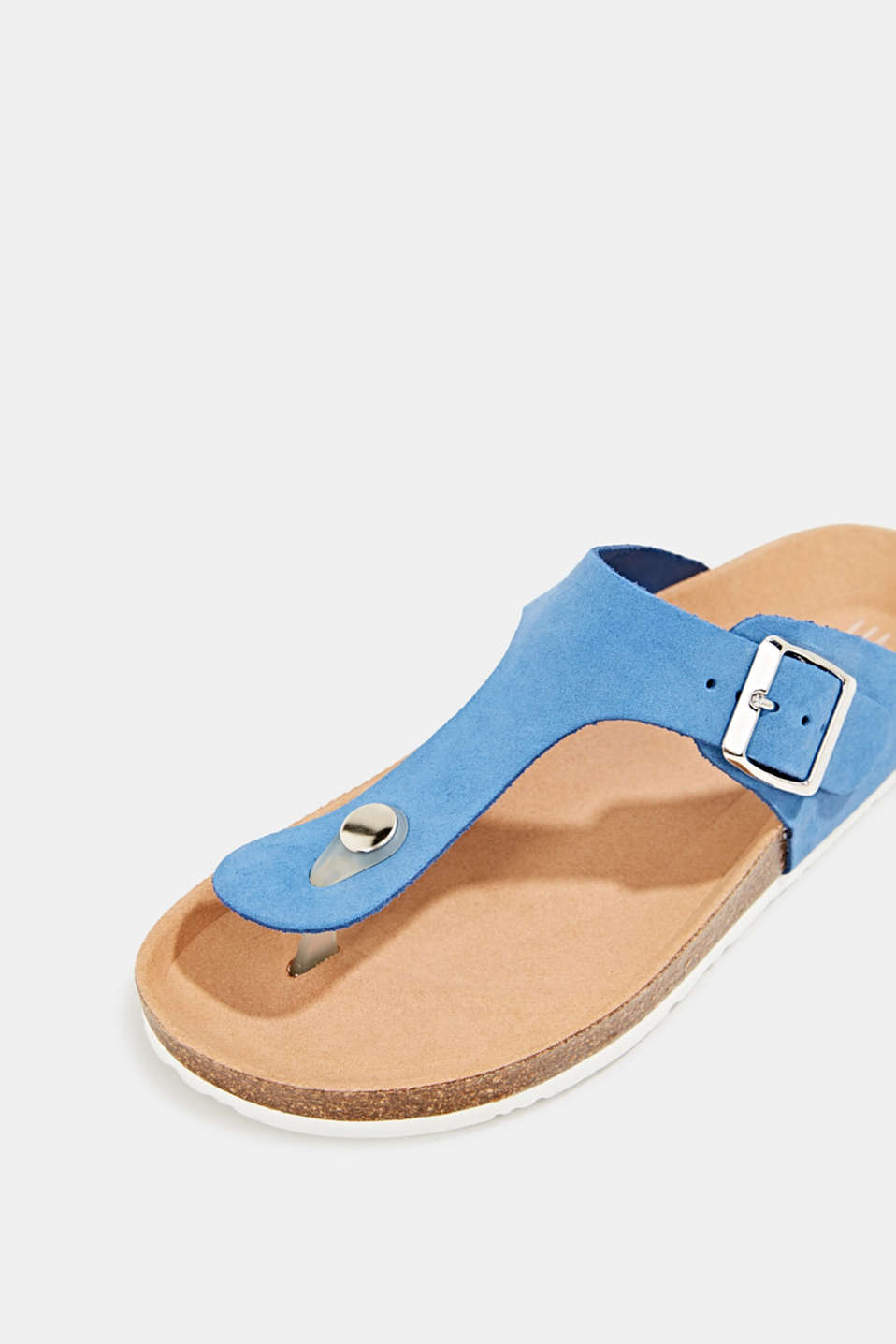 Made of leather: thong sandal slip-ons, BRIGHT BLUE, detail image number 4