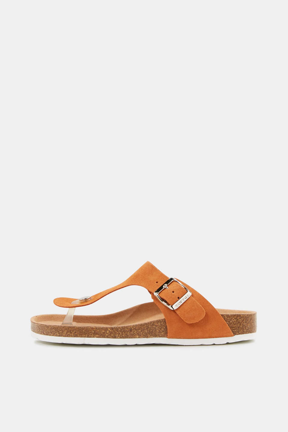 Made of leather: thong sandal slip-ons, RUST ORANGE, detail image number 0