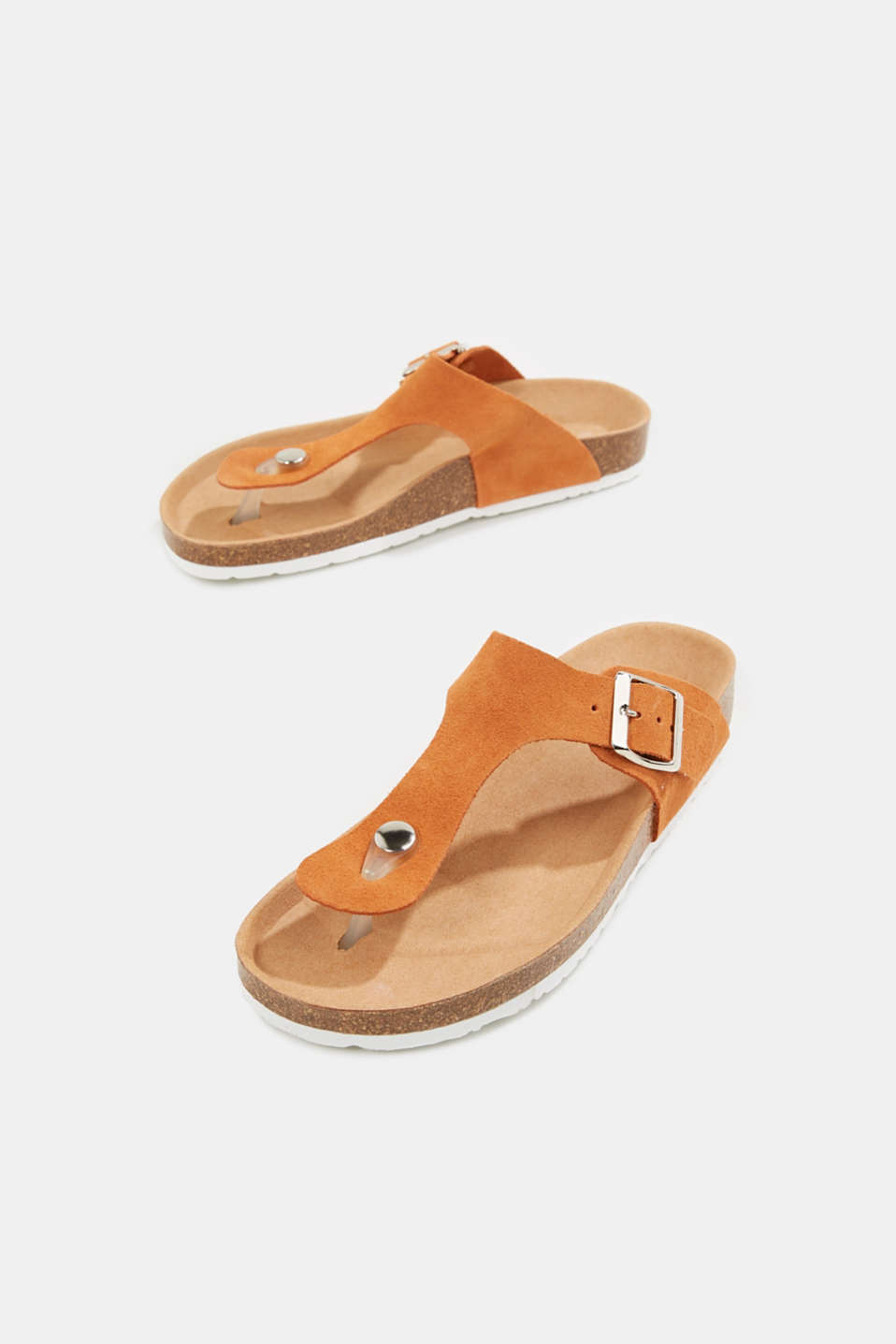 Made of leather: thong sandal slip-ons, RUST ORANGE, detail image number 1