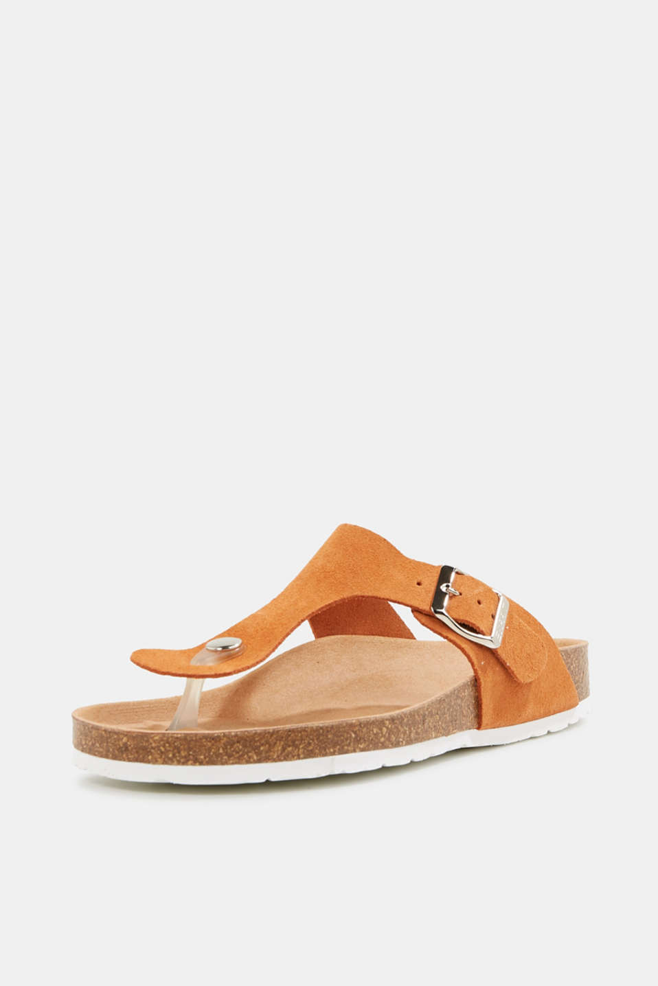 Made of leather: thong sandal slip-ons, RUST ORANGE, detail image number 2