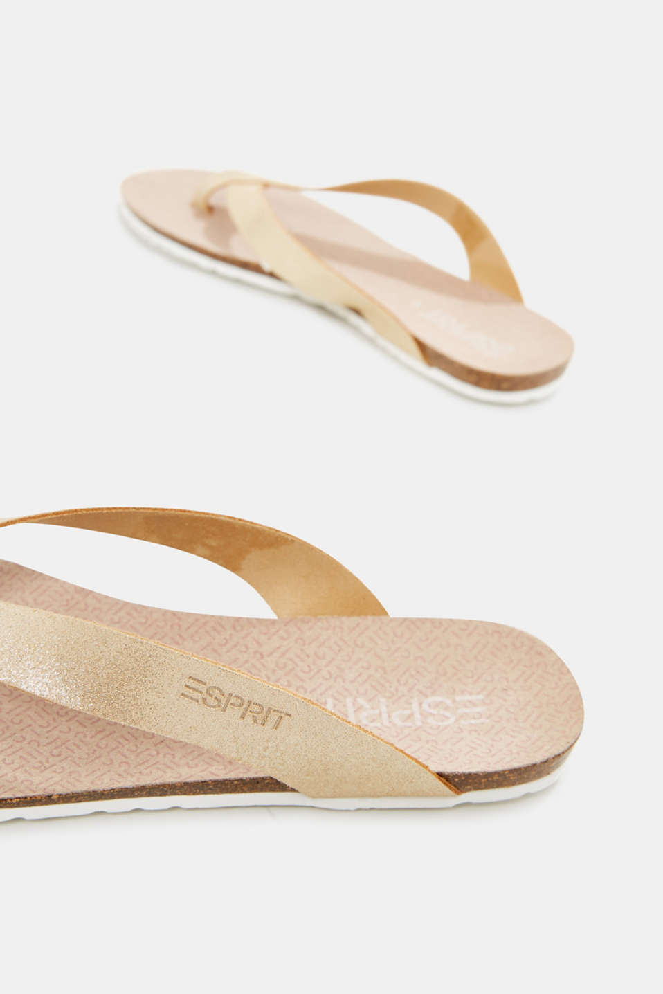 Made of leather: sparkly thong sandals, SAND, detail image number 5