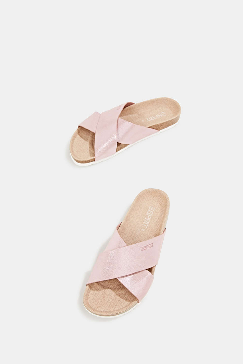 Sparkly mules made of suede, PASTEL PINK, detail image number 1