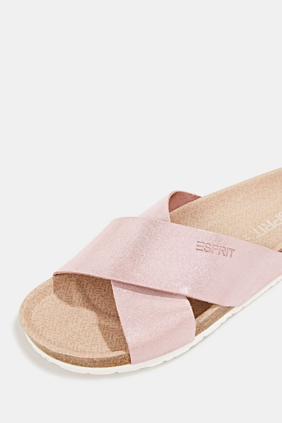 Sparkly mules made of suede, PASTEL PINK, detail image number 4