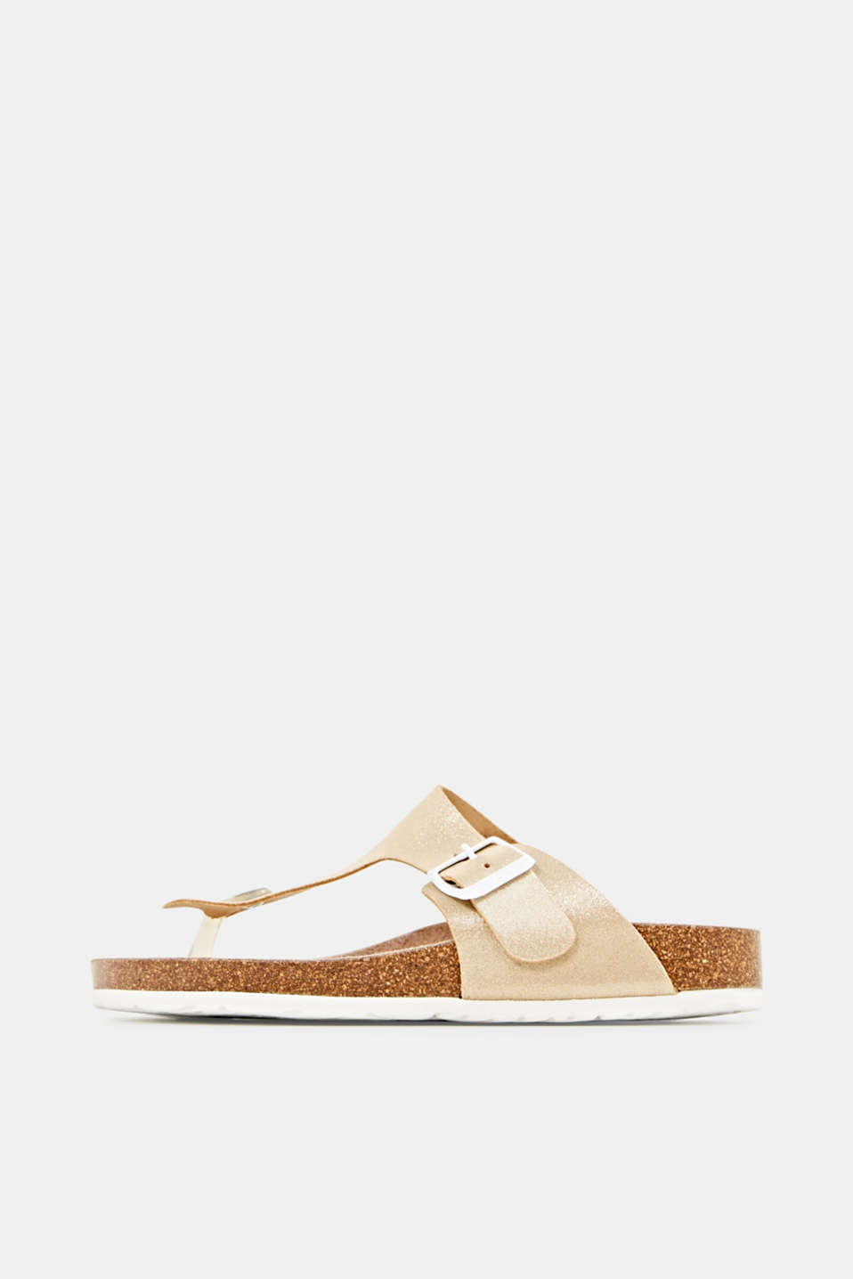 Leather slip-ons with a footbed, SAND, detail image number 0
