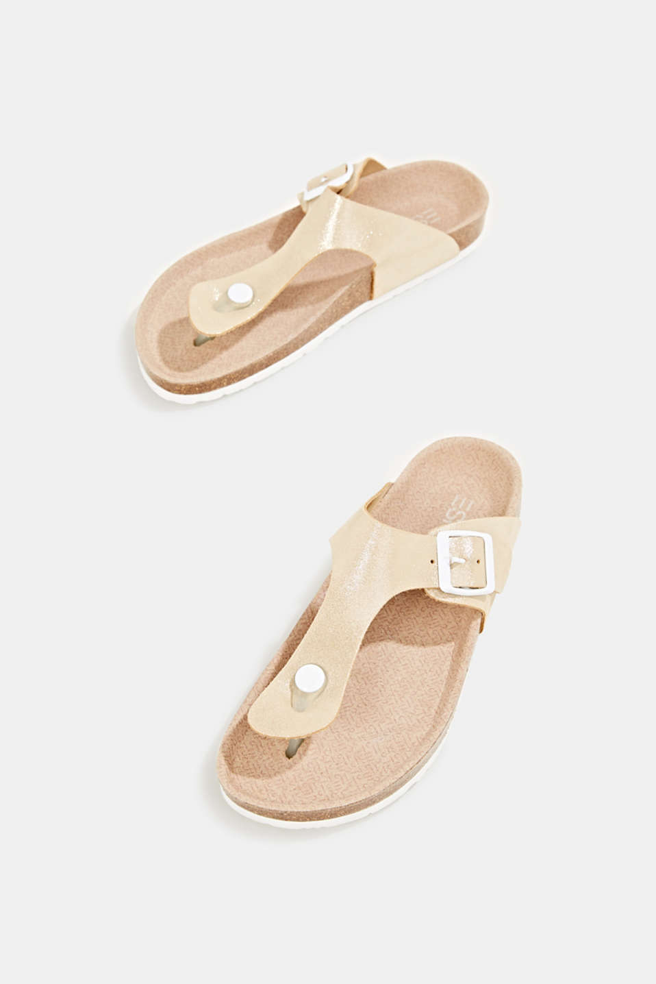 Leather slip-ons with a footbed, SAND, detail image number 1