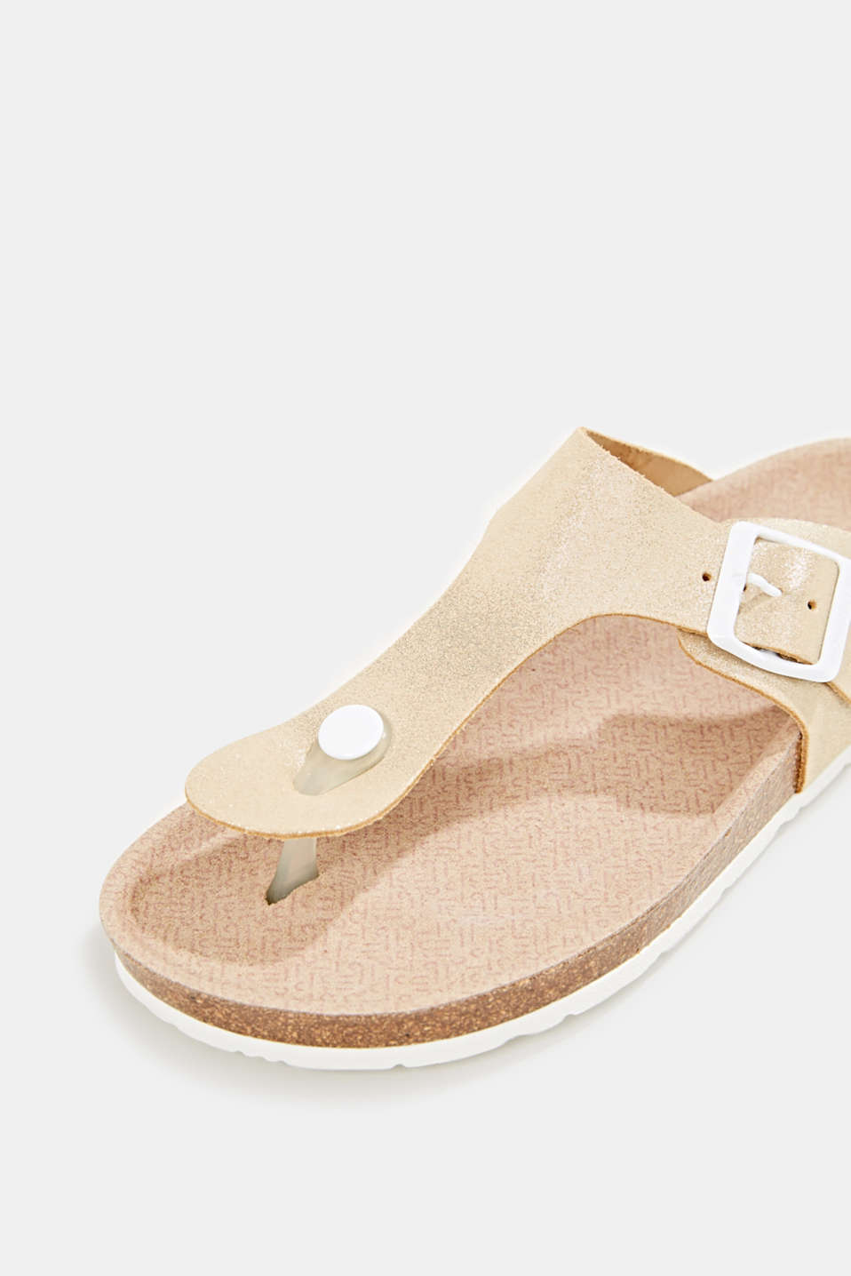 Leather slip-ons with a footbed, SAND, detail image number 4