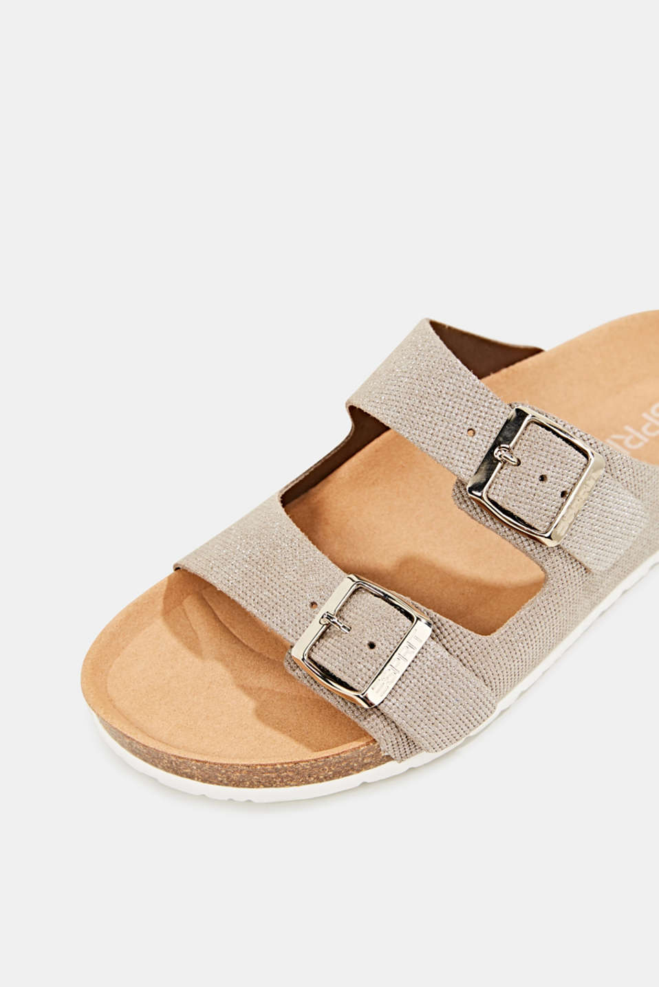 Leather mules with buckles, LIGHT GREY, detail image number 4
