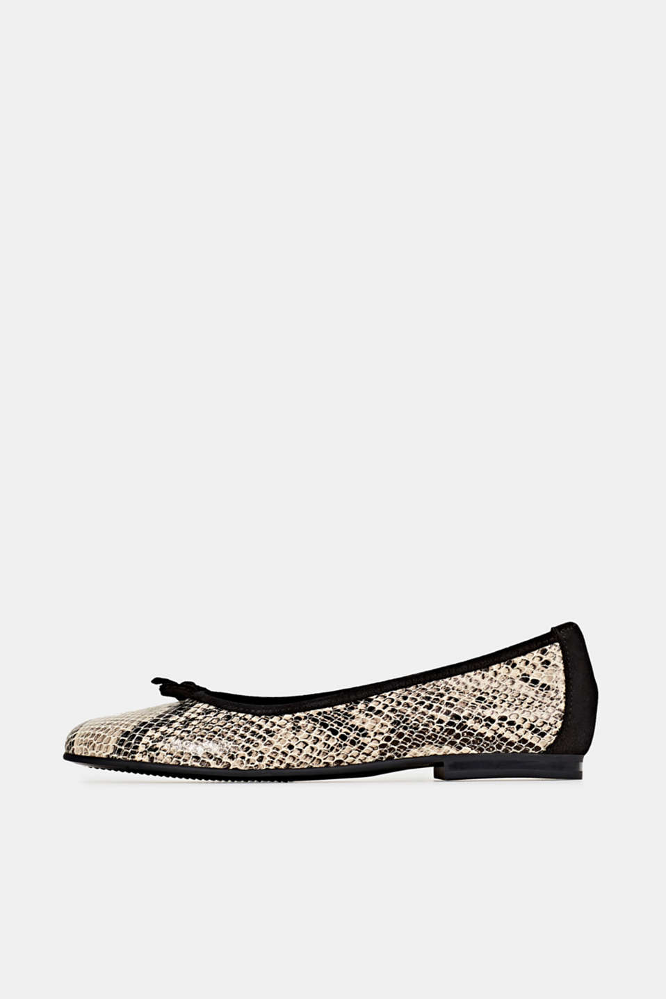 Snake print ballerinas made of leather, BEIGE, detail image number 0