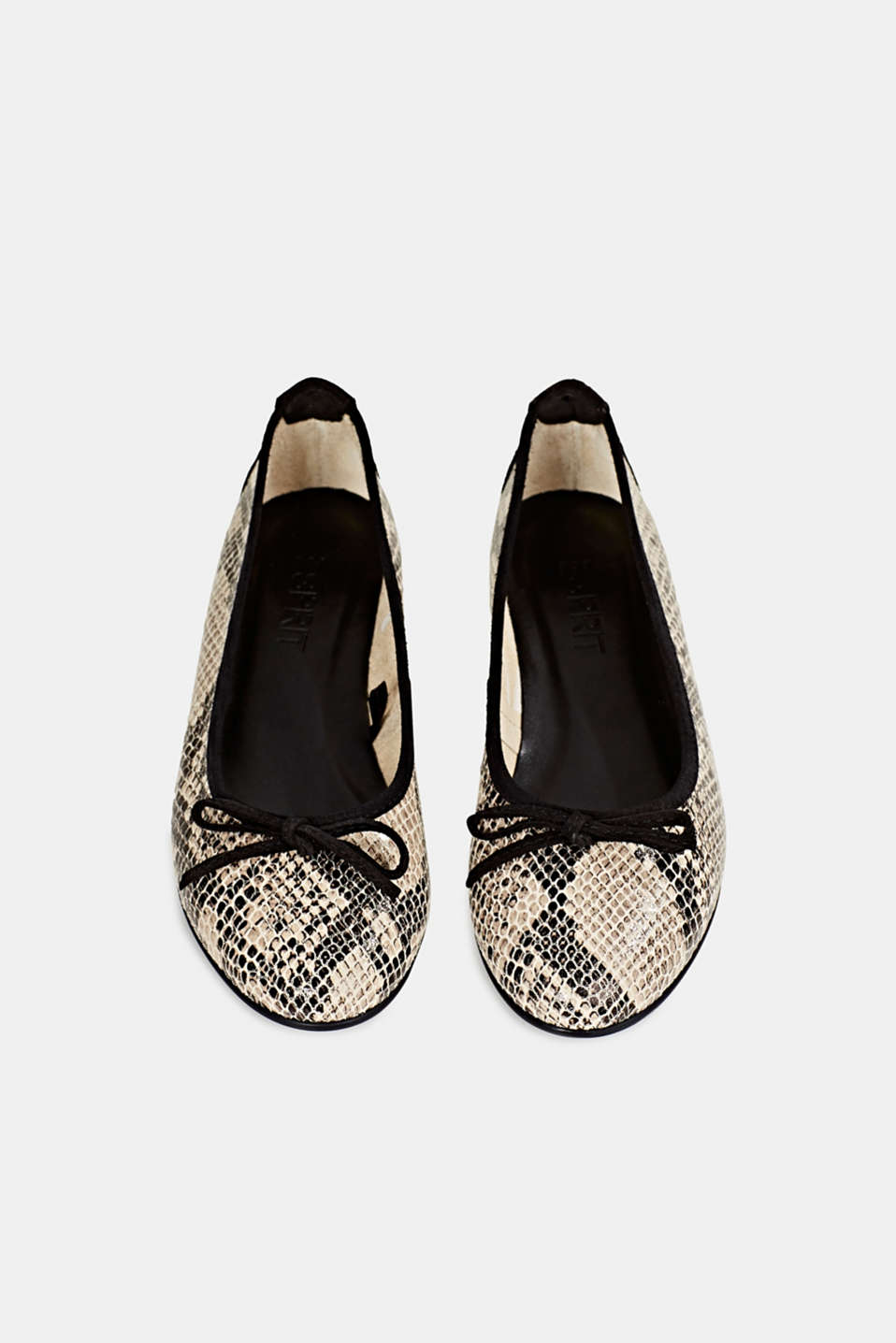 Snake print ballerinas made of leather, BEIGE, detail image number 1