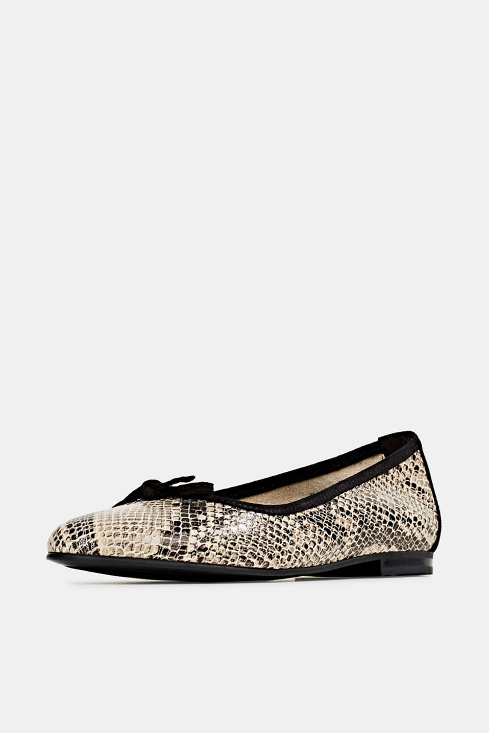 Snake print ballerinas made of leather, BEIGE, detail image number 2