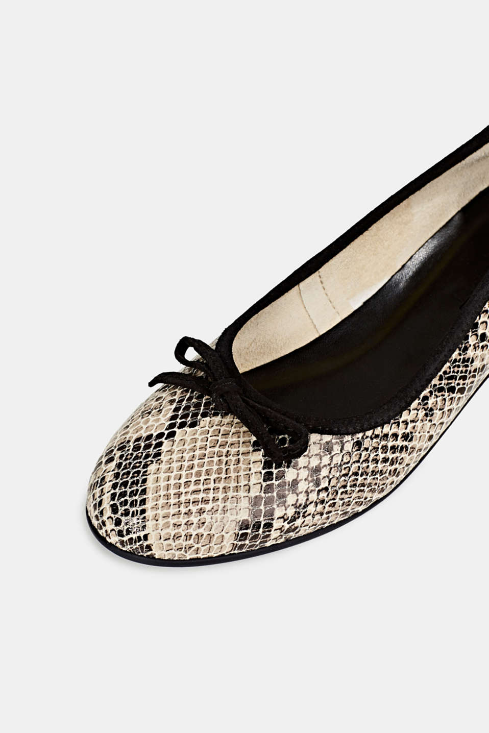 Snake print ballerinas made of leather, BEIGE, detail image number 4
