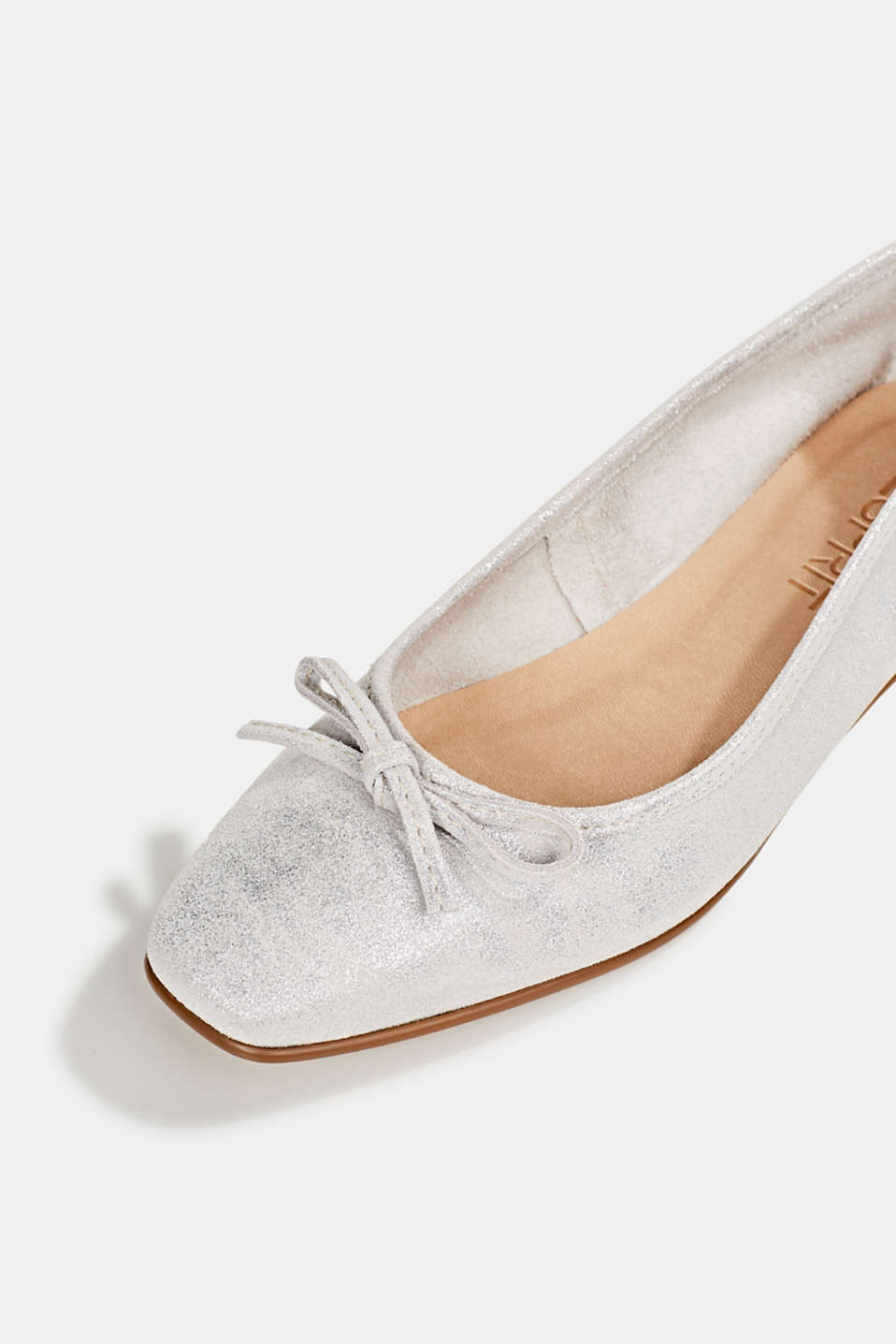 Leather ballerinas with bows, SILVER, detail image number 4