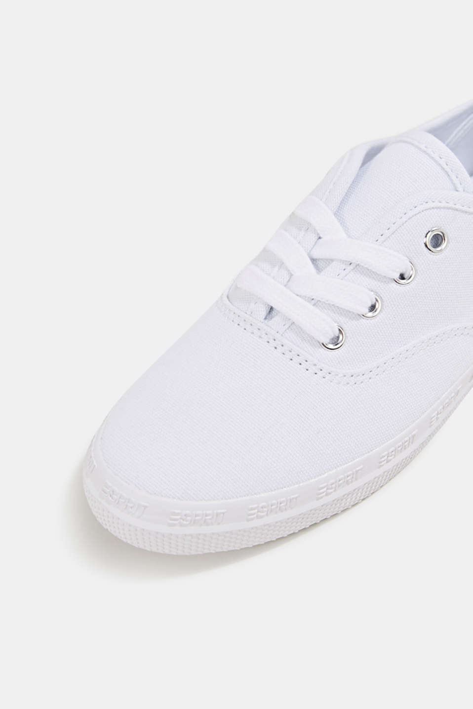 Cotton canvas trainers, WHITE, detail image number 4