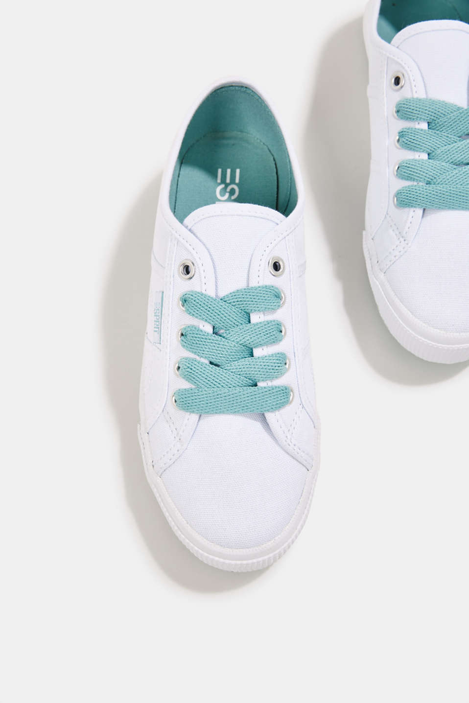 Canvas trainers in a retro look, LIGHT AQUA GREEN, detail image number 1
