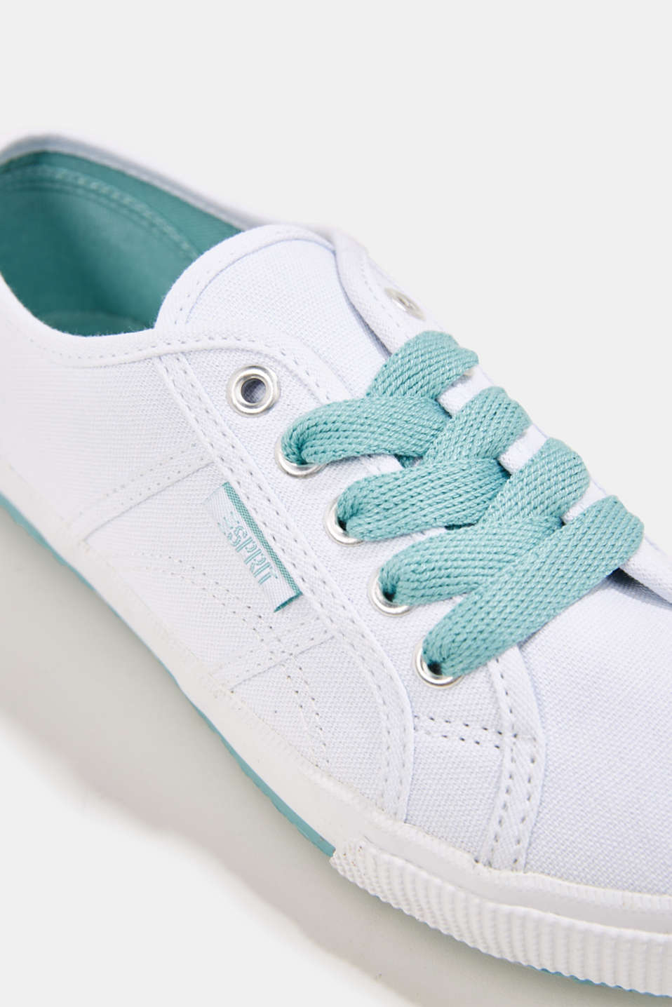Canvas trainers in a retro look, LIGHT AQUA GREEN, detail image number 4
