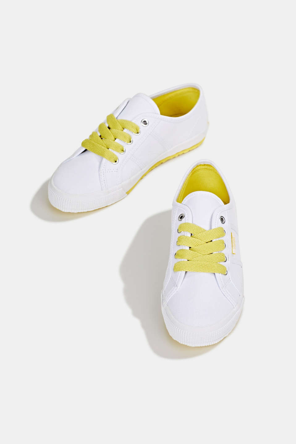 Canvas trainers in a retro look, BRIGHT YELLOW, detail image number 1