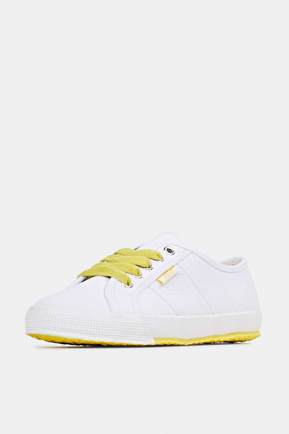 Canvas trainers in a retro look, BRIGHT YELLOW, detail image number 2
