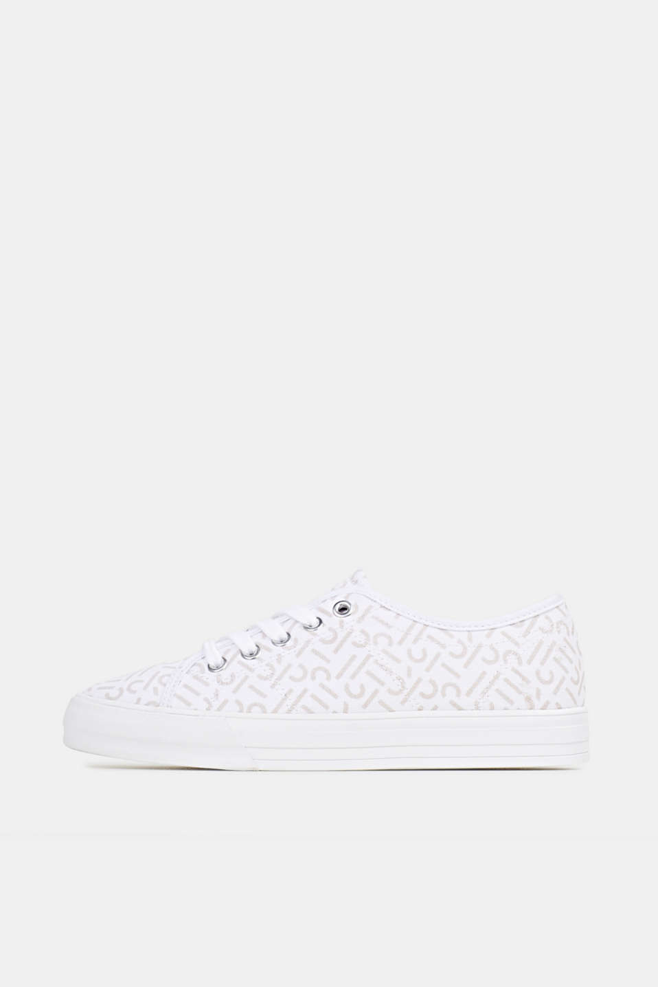 Trainers with a logo print, WHITE, detail image number 0